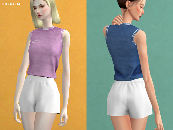 Sims 4 Sports Crop Top by ChloeMMM at TSR