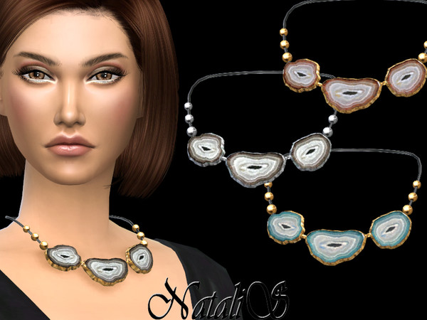 Sims 4 Agate slices necklace by NataliS at TSR