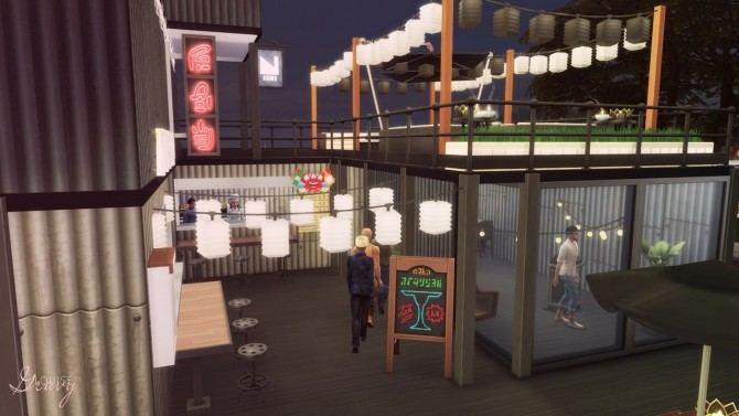 Sims 4 Another Shipping Container Food Market at GravySims