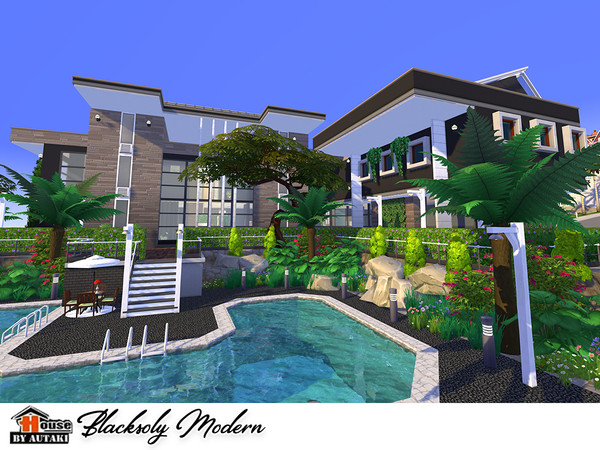 Blacksoly Modern house by autaki at TSR image 8 Sims 4 Updates