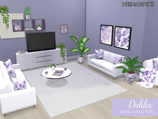 Sims 4 Dahlia Living Collection by neinahpets at TSR