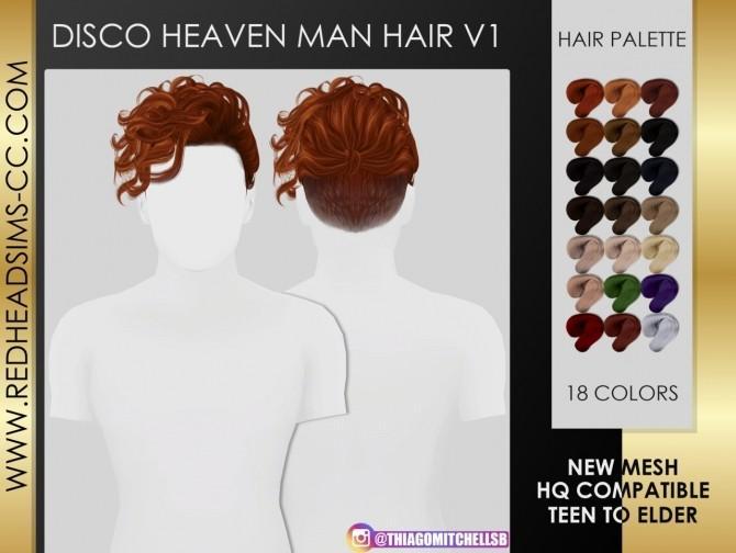 Sims 4 DISCO HEAVEN MAN HAIR by Thiago Mitchell at REDHEADSIMS