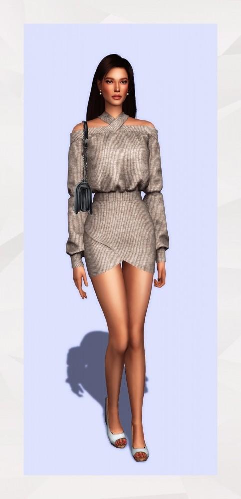 Sims 4 X Neckline Dress at Gorilla
