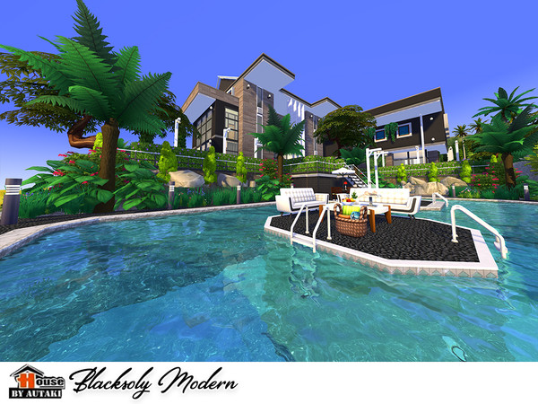 Blacksoly Modern house by autaki at TSR image 9 Sims 4 Updates