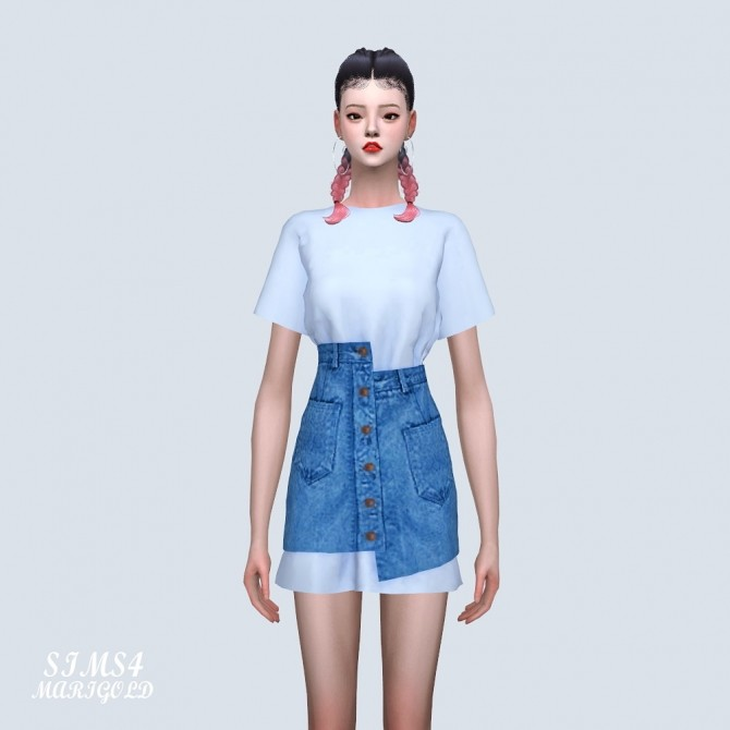 Sims 4 Box T Dress With Denim Skirt (P) at Marigold