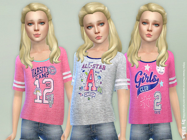 Sims 4 Sporty Tee for Girls by lillka at TSR