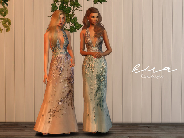 Kira embellished V neck dress by laupipi at TSR image 9513 Sims 4 Updates