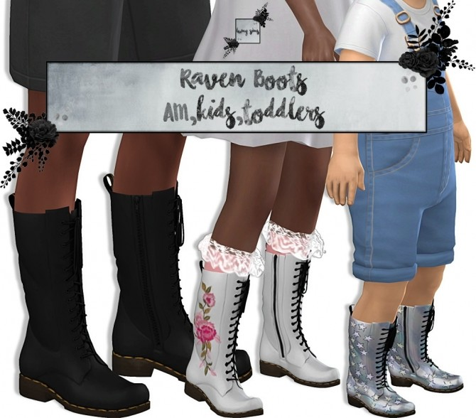 Sims 4 Raven Boots for AM/KIDS/TODDLERS (P) at Lumy Sims