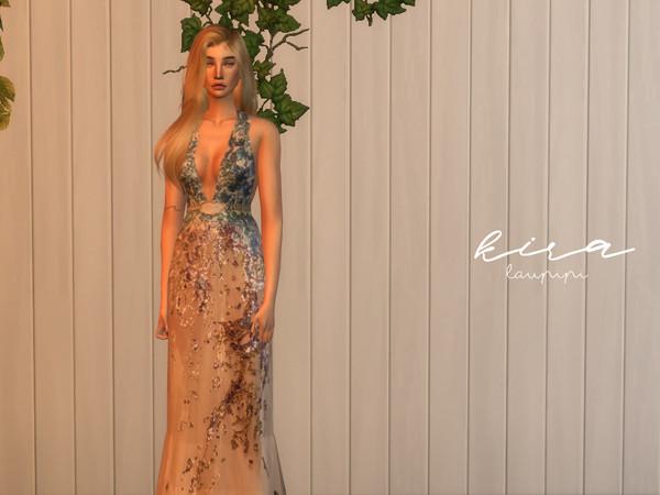 Kira embellished V neck dress by laupipi at TSR image 9613 Sims 4 Updates