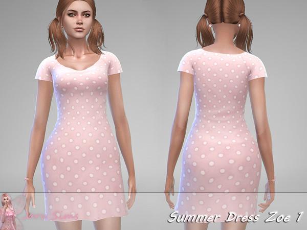 Sims 4 Summer Dress Zoe 1 by Jaru Sims at TSR