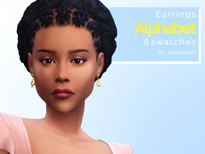 Sims 4 Alphabet earrings in 6 swatches at Joliebean