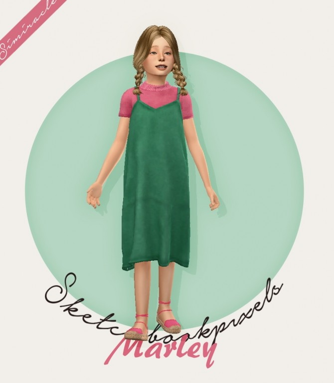 Sims 4 Sketchbookpixels Marley 3T4 dress for kids at Simiracle