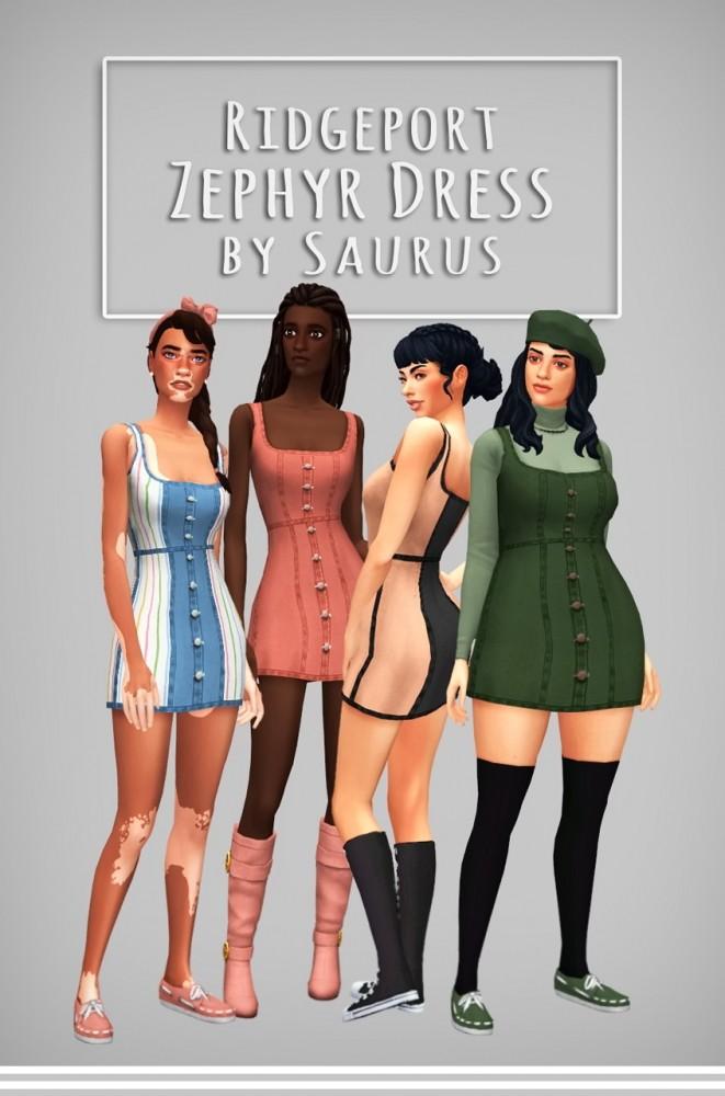 Sims 4 Ridgeport Zephyr Dress at Saurus Sims