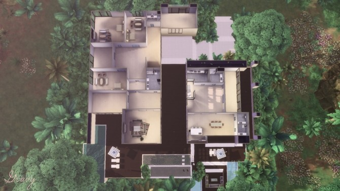 Sims 4 Modern Jungle Mansion at GravySims