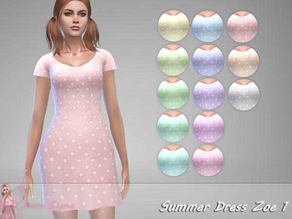 Summer Dress Zoe 1 by Jaru Sims at TSR image 1129 Sims 4 Updates