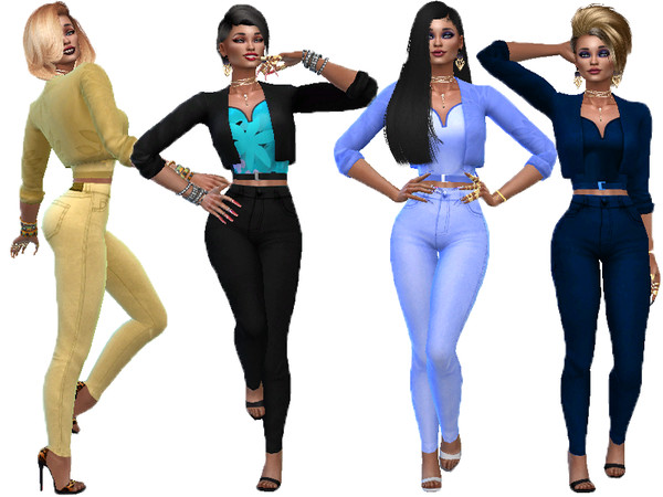 Sims 4 T55 Denim suit by TrudieOpp at TSR
