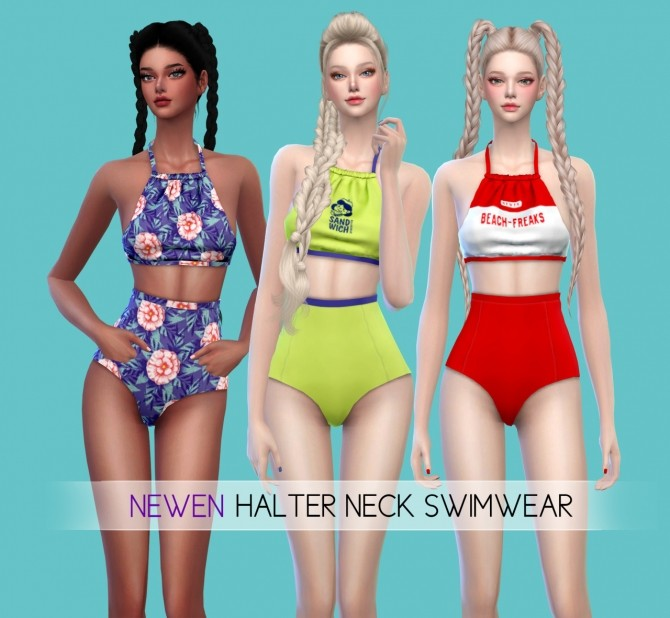 Halter Neck & T set swimsuits at NEWEN image 11413 670x618 Sims 4 Updates