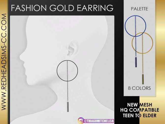 Sims 4 FASHION GOLD EARRINGS by Thiago Mitchell at REDHEADSIMS