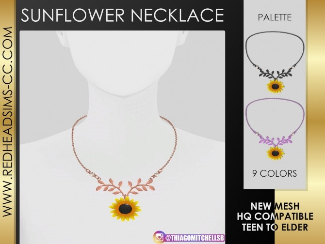 SUNFLOWER NECKLACE by Thiago Mitchell at REDHEADSIMS image 1147 670x504 Sims 4 Updates