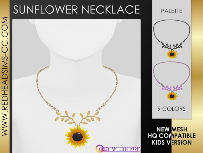 SUNFLOWER NECKLACE by Thiago Mitchell at REDHEADSIMS image 1158 670x504 Sims 4 Updates