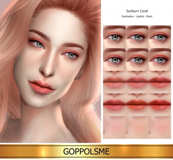 Sims 4 GPME GOLD Sunburn Coral Set (P) at GOPPOLS Me