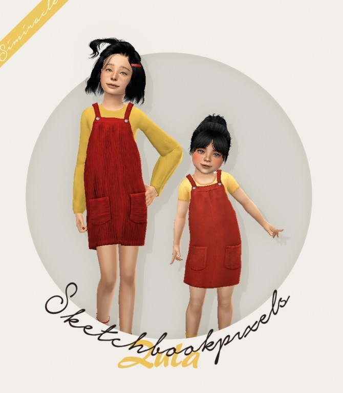 Sims 4 Sketchbookpixels Zula overall dress for kids & toddlers at Simiracle