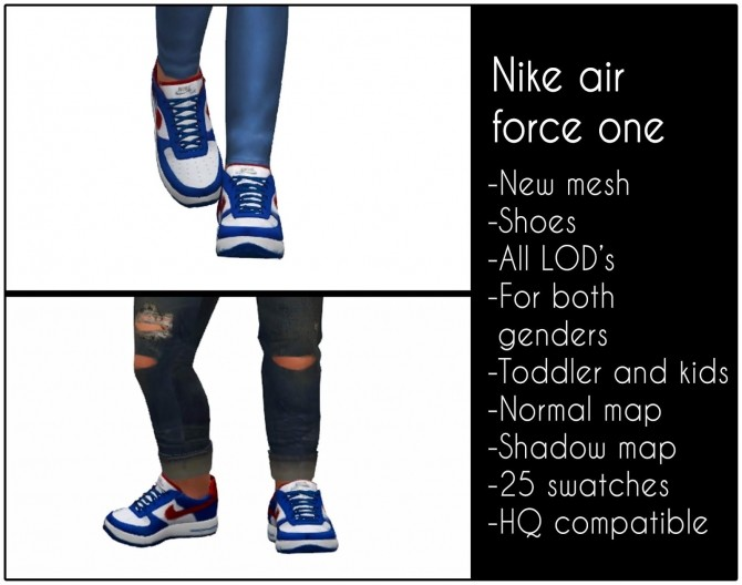 Sims 4 Air force one sneakers for kids and toddlers at LazyEyelids