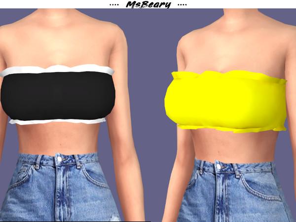 Sims 4 Ruffled Bandage Top by MsBeary at TSR
