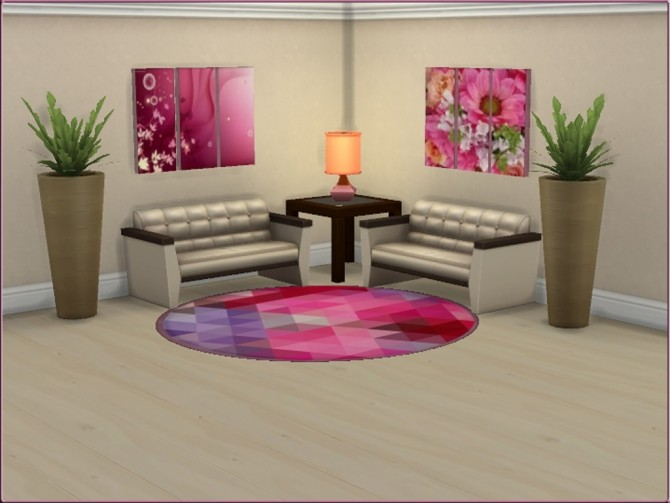 Sims 4 Mea In the Pink Triptych Painting by oumamea at Mod The Sims