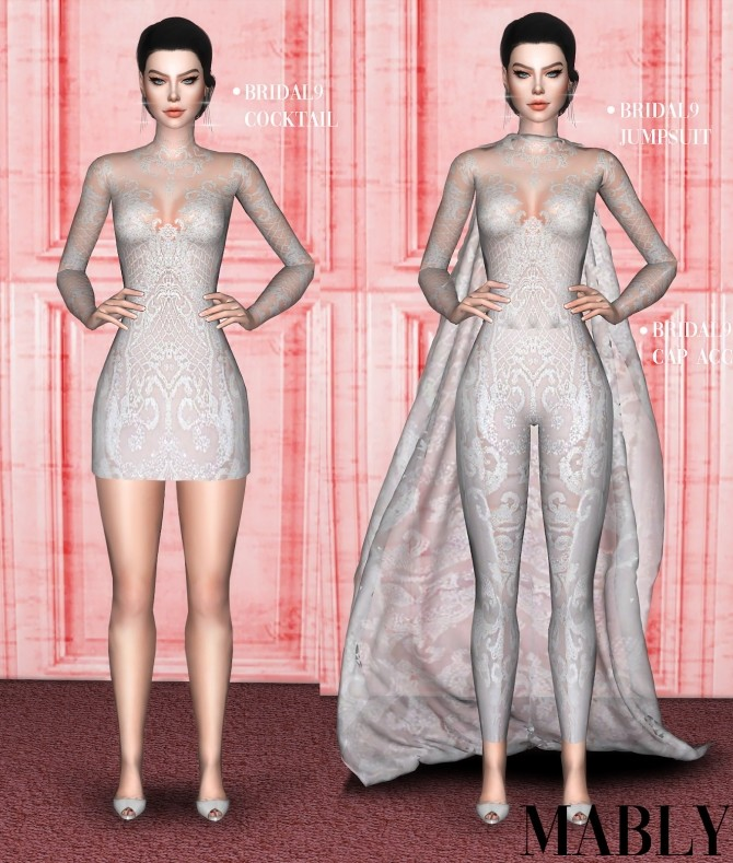 Sims 4 BRIDAL9 COCKTAIL / JUMPSUIT / CAPE ACC at Mably Store