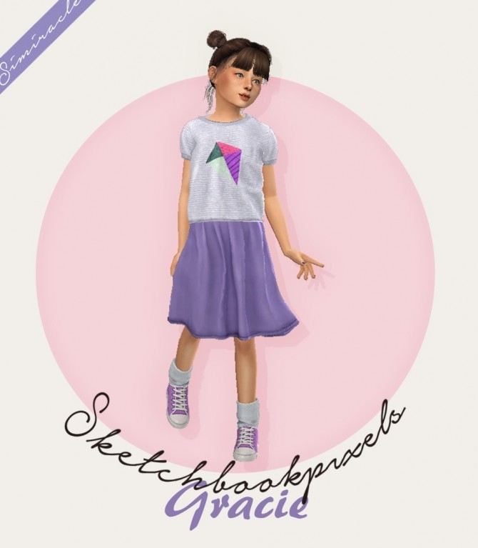 Sims 4 Sketchbookpixels Gracie 3T4 skirt for kids at Simiracle