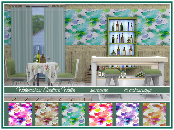 Sims 4 Watercolour Spatters Walls by marcorse at TSR