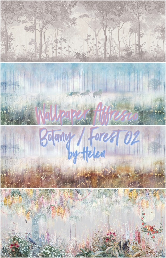 Wallpaper Affresco Botany/Forest 02 at Helen Sims image 13111 643x1000 Sims 4 Updates