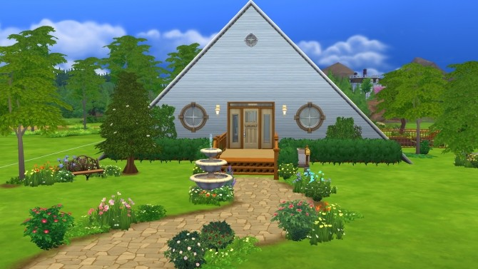 Sims 4 Rustic A Frame House NO CC by Sarafinja at Mod The Sims