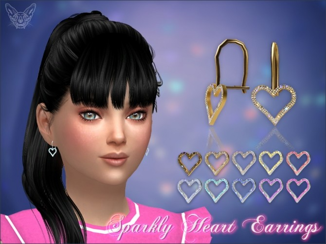 Sims 4 Sparkly Heart Earrings For Kids at Giulietta