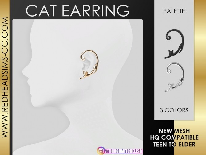 CAT EARRING at REDHEADSIMS image 1372 670x504 Sims 4 Updates