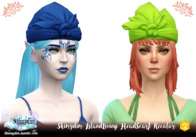 Sims 4 IslandLiving Head Scarf Recolor NoodlesCC Remix at Shimydim Sims