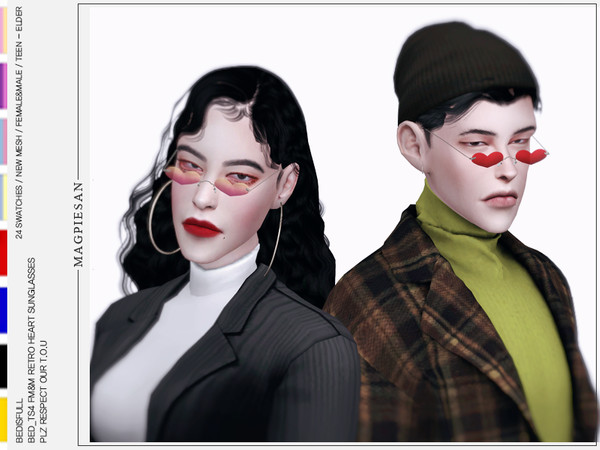 Sims 4 Retro heart sunglasses by magpiesan at TSR