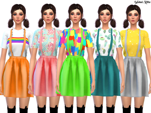 Kawaii Suspender Dress by Wicked Kittie at TSR image 1410 Sims 4 Updates