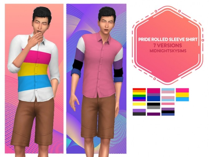 Sims 4 Pride rolled sleeve shirt at Midnightskysims