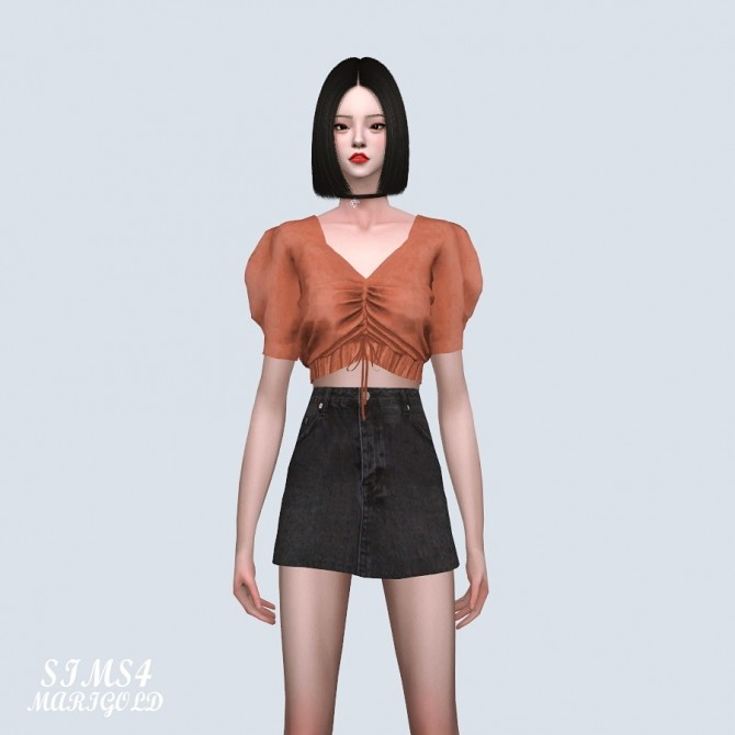 Sims 4 Shirring Puff Crop Top (P) at Marigold