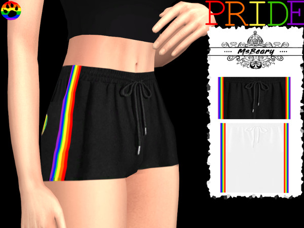 Sims 4 Rainbow Striped Shorts/Pants by MsBeary at TSR