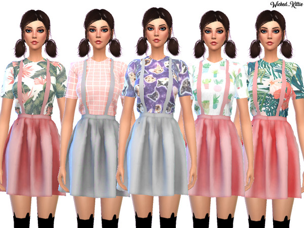 Kawaii Suspender Dress by Wicked Kittie at TSR image 157 Sims 4 Updates