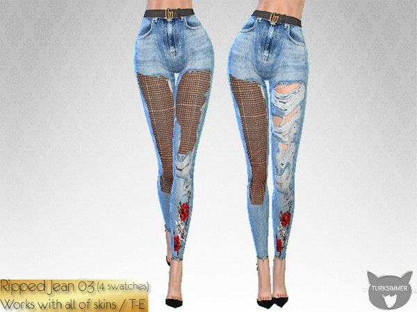 Ripped Jeans 03 by turksimmer at TSR image 1616 Sims 4 Updates