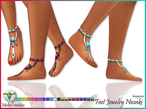 Sims 4 Feet Jewelry Neonki by MahoCreations at TSR