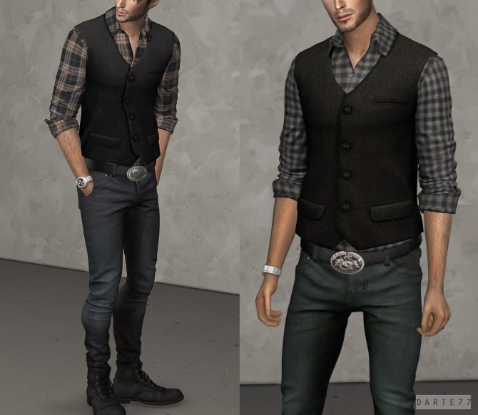 Rolled Sleeve Shirt With Vest at Darte77 image 1842 670x582 Sims 4 Updates