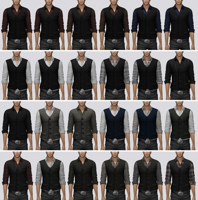 Rolled Sleeve Shirt With Vest at Darte77 image 1851 670x677 Sims 4 Updates
