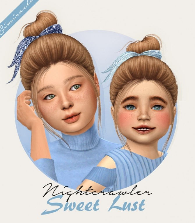 Sims 4 Nightcrawler Sweet Lust hair + acc for kids and toddlers at Simiracle