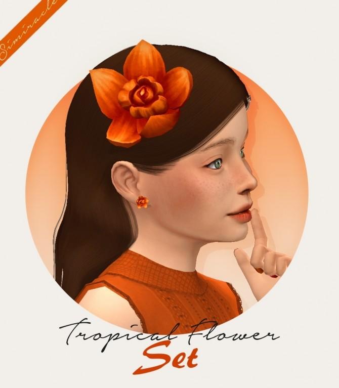 Sims 4 Tropical Flower Set Kids Version flower + earrings at Simiracle