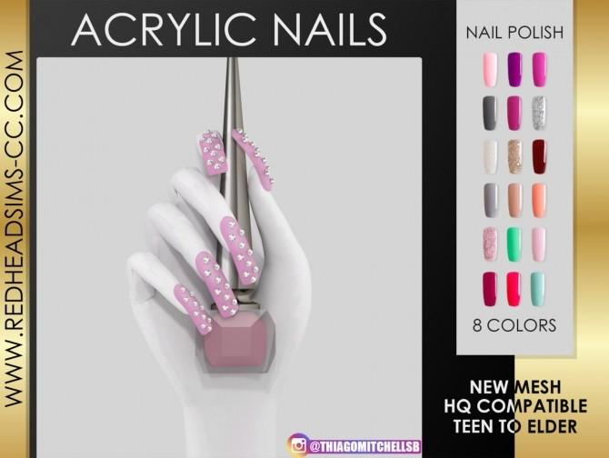 acrylic nails at redheadsims sims updates